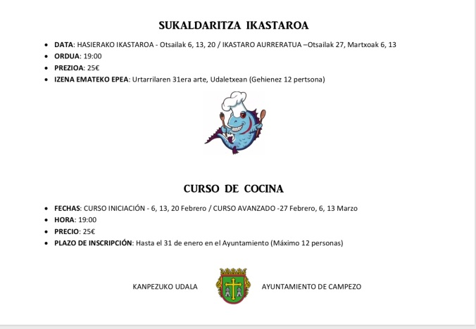 SUKALDARITZA IKASTAROA      CURSO DE COCINA